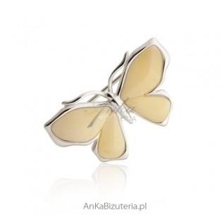 Broszka srebro bursztyn biały Motyl