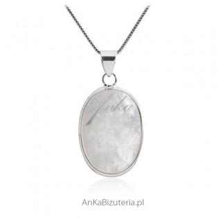 Duży wisior srebrny z kamieniem szczęścia - Kamieniem księżycowym
