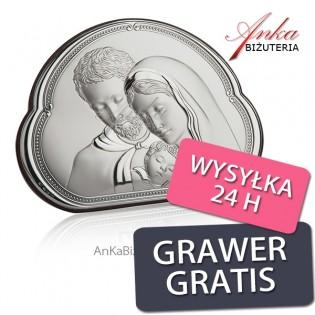 Piękny obrazek srebrny ŚWIĘTA RODZINA 14 cm* 10 cm
