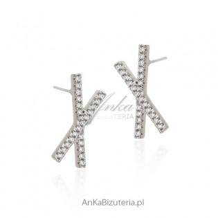 Kolczyki srebrne z cyrkoniami Piękna biżuteria Hiszpania
