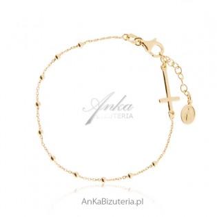 Różaniec bransoletka Srebro pozłacane Biżuteria włoska