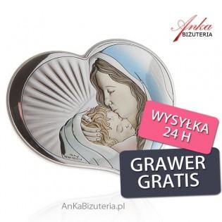 Srebrny obrazek Madonna z dzieciątkiem w sercu 14,5 cm x 12,5 cm