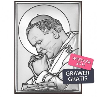 Duży srebrny obraz Jana Pawła II 18*24 Wizerunek Papież w gorliwej modlitwie