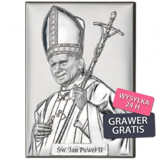 Dewocjonalia Obrazek srebrny Papież Jan Paweł II