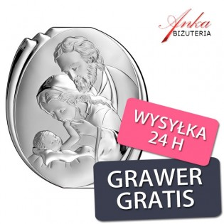 Święta Rodzina Obrazek srebrny na Prezent 14*16 cm