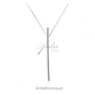 Naszyjnik srebrny Krawat - Pałeczka