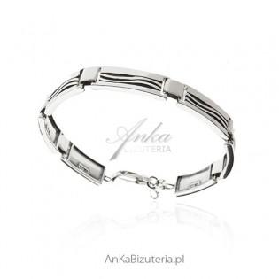 Bransoletka srebrna oksydowana Klasyczna biżuteria