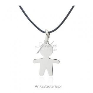 Naszyjnik srebrny choker na sznureczku - Chłopiec - Biżuteria włoska