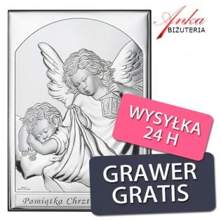 Pamiątka Chrztu Świętego - obrazek srebrny z Aniołkiem