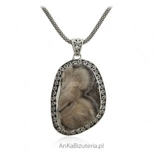 Unikat -Desert Druza Chalcedon - Indie - Biżuteria srebrna