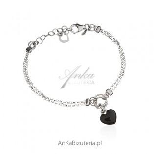 Bransoletka srebrna serduszko z czarną emalią - Włoski design