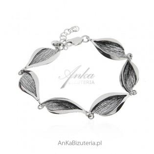 Bransoletka srebrna oksydowana - śliczna biżuteria srebrna