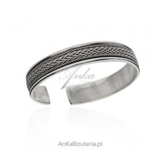 Bransoletka srebrna oksydowana - Biżuteria srebrna z oryginalnym wzorem