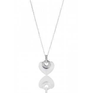 Srebrna biżuteria - Naszyjnik serduszko srebrne z cyrkoniami