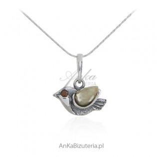 Biżuteria srebrna - WRÓBELEK -zawieszka srebrna z bursztynem