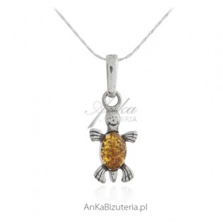 Zawieszka srebrna - ŻÓŁWIK - biżuteria srebrna z bursztynem