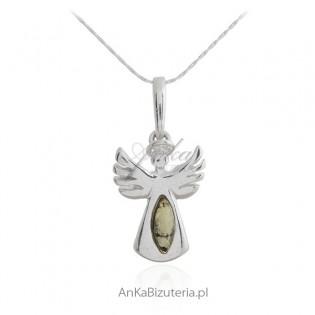 Biżuteria srebrna z bursztynem - ANIOŁEK - biżuteria na prezent