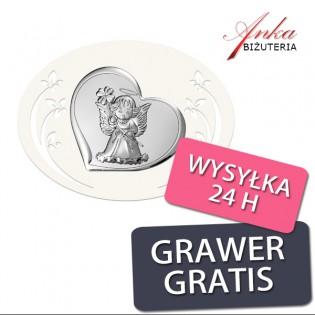 Obrazek srebrny Pamiątka Chrztu - ANIOŁEK Z KWIATKIEM