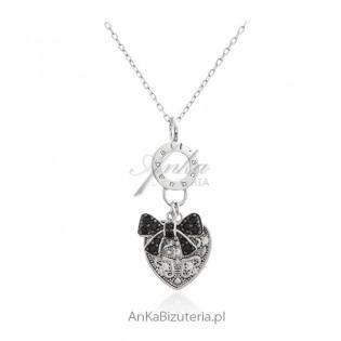 Biżuteria srebrna - stylowe serduszko z czarną kokardką - naszyjnik srebrny