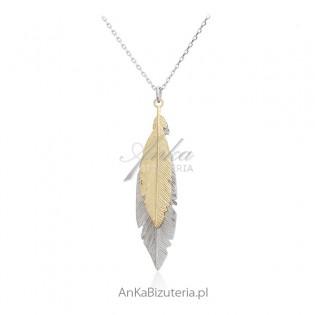 Naszyjnik srebrny PIÓRKA - dwa piórka srebrne i złote