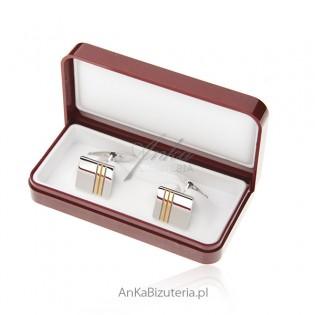 Spinki do mankietów srebrne pozłacane - Klasyczne