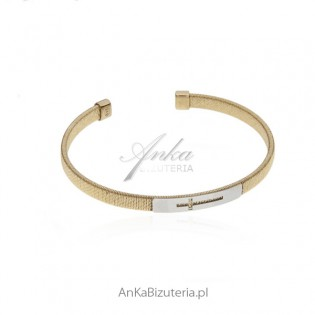 Bransoletka srebrna pozłacana z krzyżykiem Piękna biżuteria
