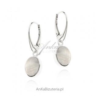Kolczyki srebrne z kamieniem księżycowym - Blue Moon rozm. M