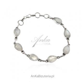 Bransoletka srebrna z kamieniem księżycowym