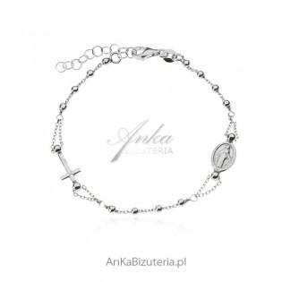 Bransoletka srebrna Włoski design - RÓŻANIEC