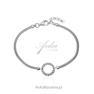 Srebrna bransoletka włoska z kółkiem i cyrkoniami