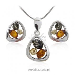 Subtelny komplet srebrnej biżuterii z bursztynem - ABLA