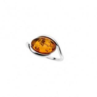 Pierścionek srebrny z pięknym naturalnym bursztynem