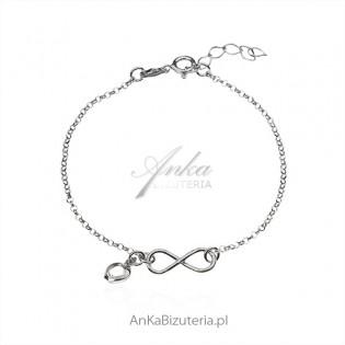 Bransoletka srebrna z białym serduszkiem i nieskończonością