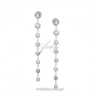 Biżuteria ślubna - srebrne kolczyki z białymi cyrkoniami - długie