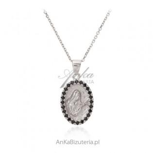Medalik srebrny Św. Rity z czarnymi cyrkoniami