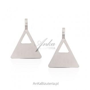 Kolczyki srebrne Duże trójkąty Modna biżuteria włoska