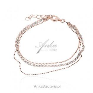 Piękna bransoletka pozłacana różowym złotem z kryształkami Swarovskiego