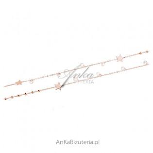 Srebrny naszyjnik pozłacany różowym złotem z białymi Swarovski GWIAZDKI