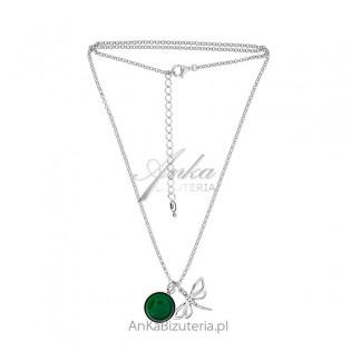Naszyjnik srebrny z zielonym agatem WAŻKA