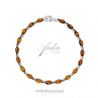 Srebrna bransoletka z bursztynem - piękna subtelna biżuteria z bursztynem