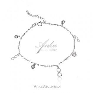 Srebrna bransoletka z nieskończonościami i cyrkoniami