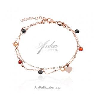 Srebrne bransoletka pozłacana z kolorowymi kryształkami Swarovski