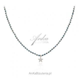 Srebrny naszyjnik z gwiazdką i turkusowymi cyrkoniami