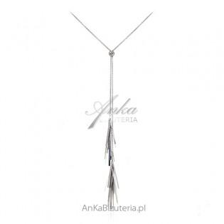 Oryginalny Długi naszyjnik srebrny z frędzlami - regulowany