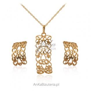 Ażurowa biżuteria srebrna pozłacana - komplet