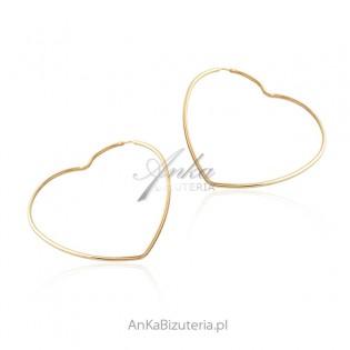 Kolczyki duże serca pozłacane - modna biżuteria srebrna - HIT!