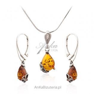 Biżuteria srebrna z bursztynem Komplet z motylkiem