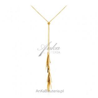Długi srebrny naszyjnik pozłacany z frędzlami - regulowany