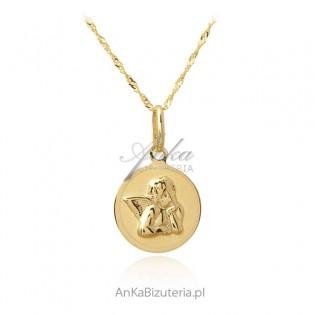 Złoty komplet pr. 585 medalik Aniołek z łańcuszkiem