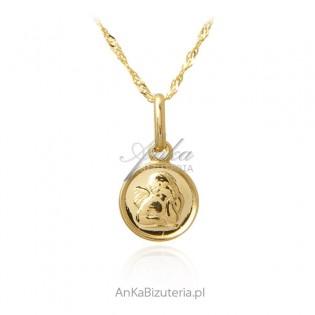Złoty komplet Medalik Aniołek z łańcuszkiem - próba 585